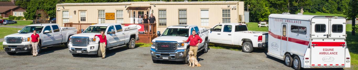 TEVA team trucks and office